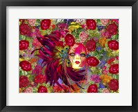 Framed Mask And Red Flowers