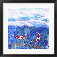 Framed Red Twin Fish