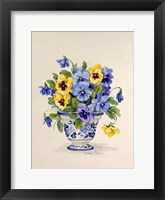 Framed Blue and White Porcelain Pansies