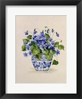Framed Blue and White Porcelain Violets