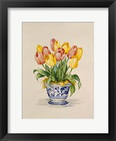 Framed Blue and White Porcelain Tulips