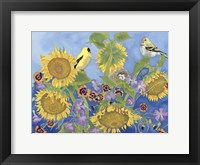 Framed Goldfinches With Sunflowers