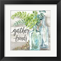 Framed Vintage Bottles and Ferns Square II