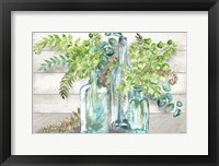 Framed Vintage Bottles and Ferns Landscape