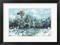 Framed Windmill and Daisies Landscape