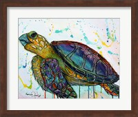 Framed Sea Turtle w/paint splotches