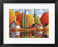 Framed Fall Water Cabin Reflections