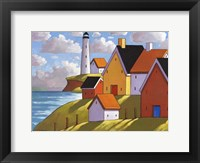 Framed Lighthouse Cottage Hillside View