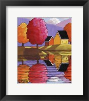 Framed Purple Mountains Colorful Trees & Cottages