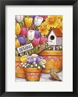Framed Spring Birds Flowers