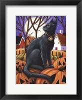 Framed Moon Cat & Pumpkins