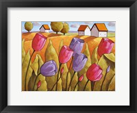 Framed Tulips Landscape Yellow