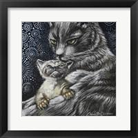 Framed Mother Cat With Kitten