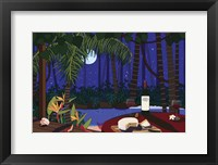 Framed Red Wine And Cheese Under The Moonlight