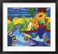 Framed Sunflowers With Beach View