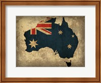 Framed Australia Country Flag Map