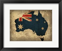 Framed Australia Country Flag Map