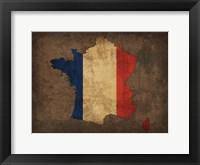 Framed France Country Flag Map