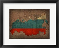 Framed Russia Country Flag Map