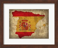 Framed Spain Country Flag Map
