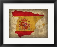 Framed Spain Country Flag Map