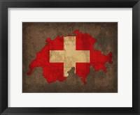Framed Switzerland Country Flag Map