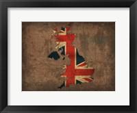Framed United Kingdom Country Flag Map