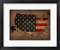 Framed USA Country Flag Map
