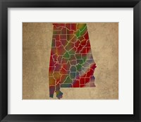 Framed AL Colorful Counties