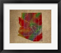Framed AZ Colorful Counties