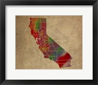 Framed CA Colorful Counties