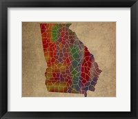 Framed GA Colorful Counties