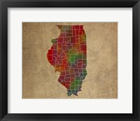 Framed IL Colorful Counties