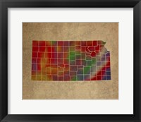Framed KS Colorful Counties
