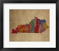 Framed KY Colorful Counties