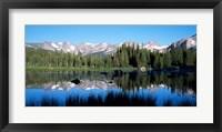Framed Indian Peaks reflected in Red Rock Lake Boulder Colorado