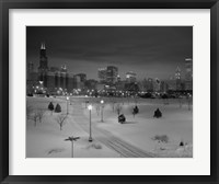 Framed Snowy Chicago Skyline