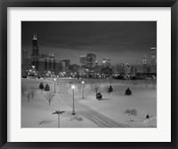 Framed Snowy Chicago Skyline