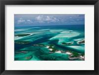 Framed Aerial View of Island in Caribbean Sea, Great Exuma Island, Bahamas