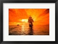 Framed Sailboat and Tall Ship the Pacific Ocean, Dana Point Harbor, California