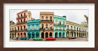 Framed Cars in Front of Colorful Houses, Havana, Cuba