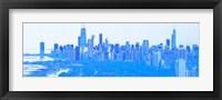 Framed Skyline of Chicago in Blue