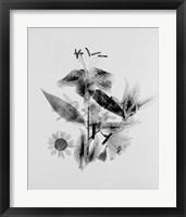 Framed Close-up of Abstract Flower Arrangement (BW)