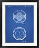 Framed Blueprint Leather Soccer Ball Patent