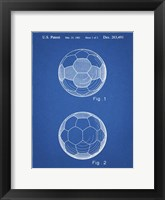 Framed Blueprint Leather Soccer Ball Patent
