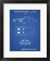 Framed Blueprint 1962 Corvette Stingray Patent