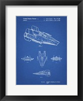 Framed Blueprint Star Wars RZ-1 A Wing Starfighter Patent