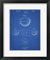 Framed Blueprint Basketball 1929 Game Ball Patent