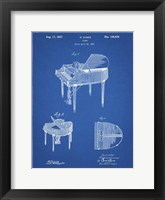 Framed Blueprint Wurlitzer Butterfly Model 235 Piano Patent