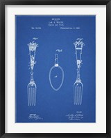 Framed Blueprint Antique Spoon and Fork Patent